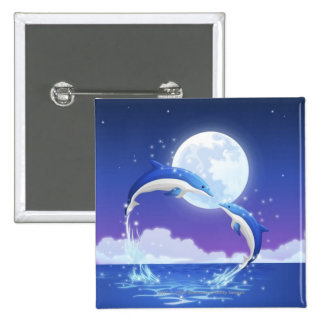 Two bottle-nosed dolphins jumping out of water 15 cm square badge