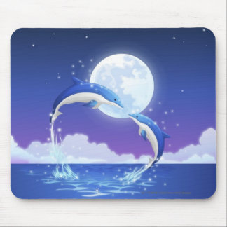 Two bottle-nosed dolphins jumping out of water mouse pads