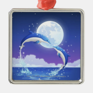 Two bottle-nosed dolphins jumping out of water Silver-Colored square decoration