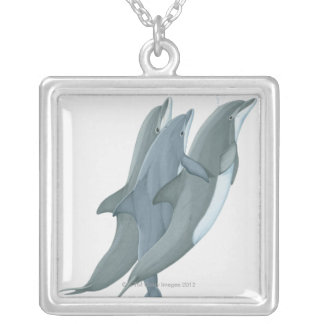 Two Bottlenosed Dolphins Silver Plated Necklace