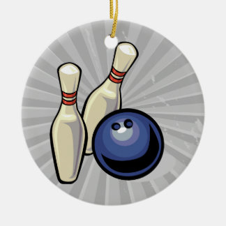 two bowling pins and bowling ball design christmas ornament