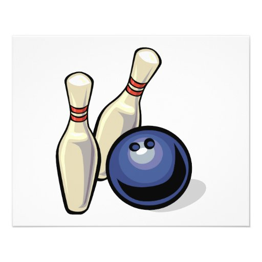 two bowling pins and bowling ball design flyers