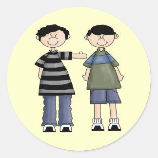 Two Boy Pals Round Sticker