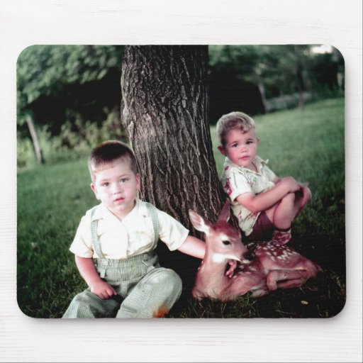 Two Boys and a Fawn Mouse Pad