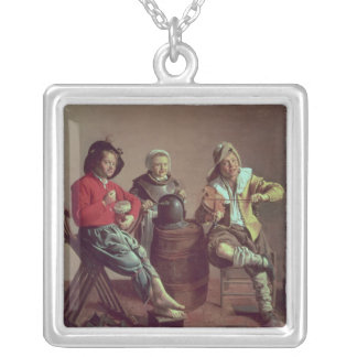 Two Boys and a Girl Making Music, 1629 Silver Plated Necklace