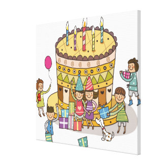 Two boys and three girls in a birthday party canvas prints
