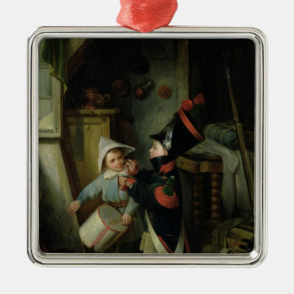 Two Boys Dressing Up as Soldiers Christmas Ornament
