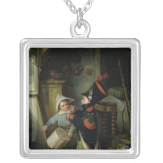 Two Boys Dressing Up as Soldiers Silver Plated Necklace