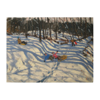 Two boys falling off a sledge Morzine Wood Print