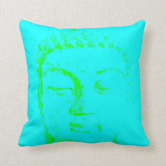 Two Branching Out buddha face turquoise and gold Throw Pillow