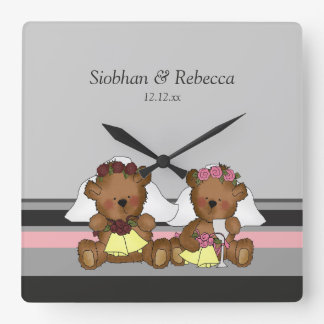 Two Bride Teddy Bears Square Wall Clock