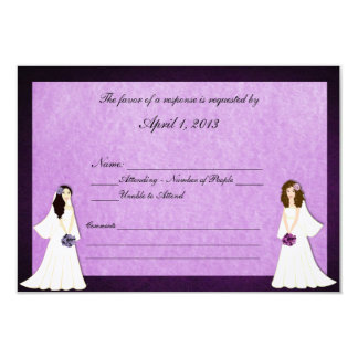 Two Brides Custom Lesbian Wedding RSVP Cards 9 Cm X 13 Cm Invitation Card