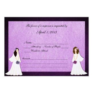 Two Brides Custom Lesbian Wedding RSVP Cards