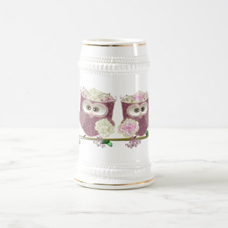 Two Brides Cute Wedding Owls Art Beer Stein