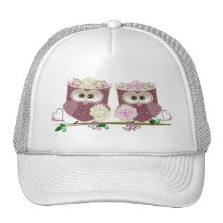 Two Brides Cute Wedding Owls Art Hat