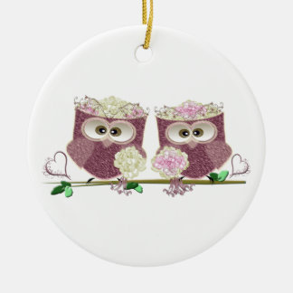 Two Brides Cute Wedding Owls Art Round Ceramic Decoration