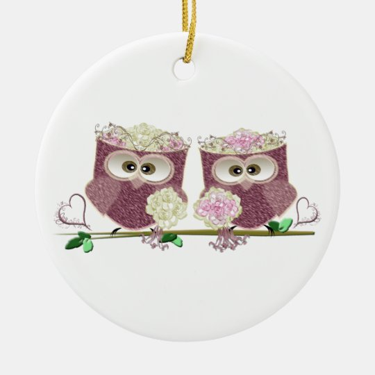 Two Brides Cute Wedding Owls Art Round Ceramic
