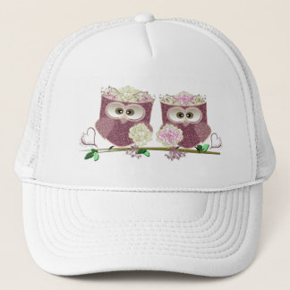 Two Brides Cute Wedding Owls Art Trucker Hat