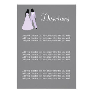 Two Brides Directions Wedding Lilac And Grey Personalized Announcements