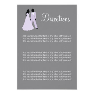 Two Brides Directions Wedding (Lilac And Grey) 9 Cm X 13 Cm Invitation Card