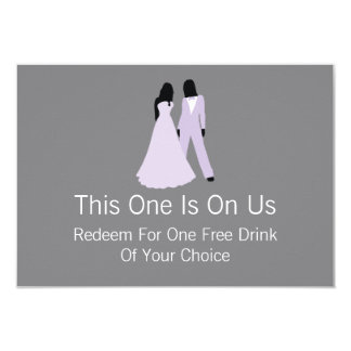 Two Brides Free Drink On Us (Lilac and Grey) 9 Cm X 13 Cm Invitation Card