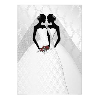 Two Brides In Bridal Gowns Elegant Wedding Custom Invitation