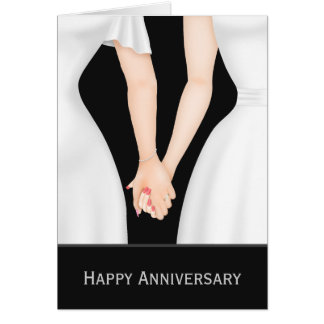Two Brides In Dresses Wedding Anniversary Card