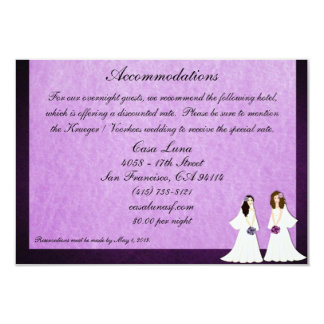 Two Brides Lesbian Wedding Accommodations Cards Personalized Invitations