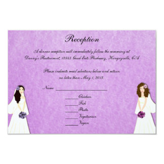 Two Brides Lesbian Wedding Custom Reception Cards Personalized Invite