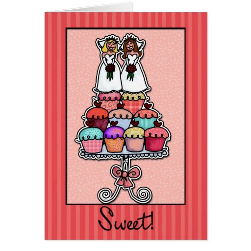 Two Brides on Cupcake Stack Greeting Cards