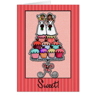 Two Brides on Cupcake Stack Greeting Card