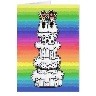 Two Brides on Wedding Cake Greeting Card