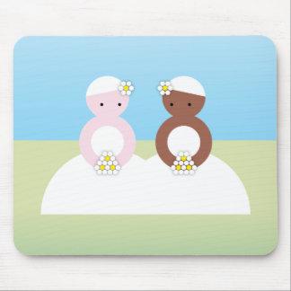 Two brides one caucasian mouse mat