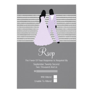 Two Brides RSVP Wedding Lilac And Grey Invitation