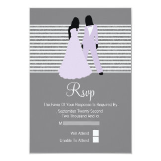 Two Brides RSVP Wedding (Lilac And Grey) Invitation