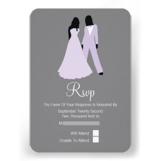 Two Brides RSVP Wedding Lilac And Grey Custom Invitation