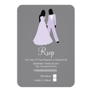 "Two Brides RSVP Wedding (Lilac And Grey) 3.5"" X 5"" Invitation Card"