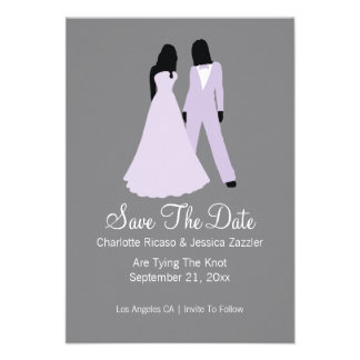 Two Brides Save The Date Wedding Lilac And Grey Custom Invite
