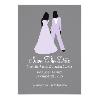 Two Brides Save The Date Wedding (Lilac And Grey) 9 Cm X 13 Cm Invitation Card