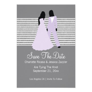 Two Brides Save The Date Wedding Lilac And Grey Personalized Invites