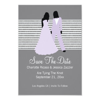 Two Brides Save The Date Wedding (Lilac And Grey) Personalized Invites