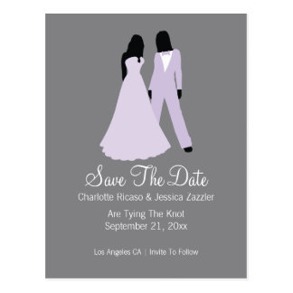 Two Brides Suit And Wedding Dress (Lilac Grey) Postcard