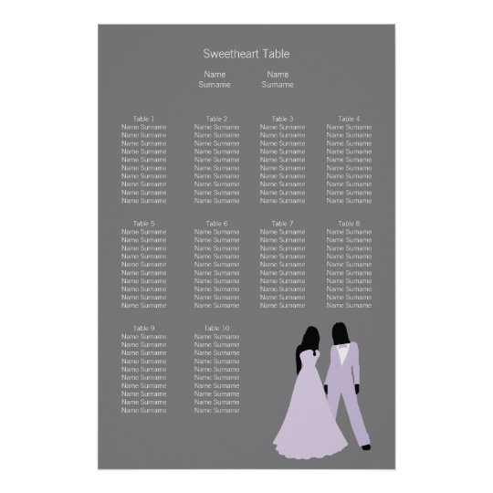 Two Brides Wedding (Lilac and Grey) Seating Plan