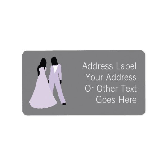 Two Brides Wedding (Lilac Grey) Personalised Address Label