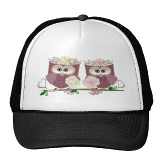 Two Brides Wedding Owls Art Gifts Mesh Hat