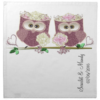 Two Brides Wedding Owls Art Gifts Napkin