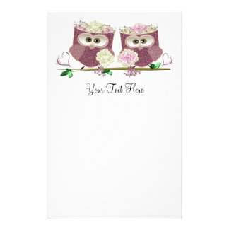 Two Brides Wedding Owls Art Gifts Personalized Stationery