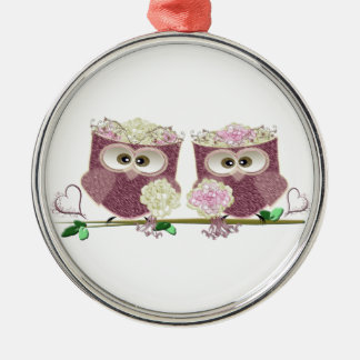 Two Brides Wedding Owls Art Gifts Silver-Colored Round Decoration