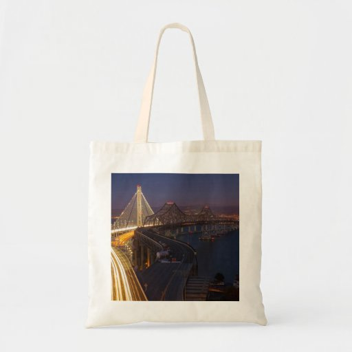 Two Bridges San Francisco–Oakland Bay Bridge Tote Bags