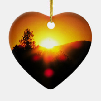 Two Bright Orange Sunsets Ceramic Heart Decoration
